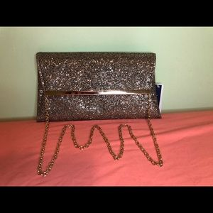 Sparkly Gold Clutch with Chain